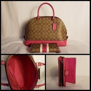 Coach Sierra signature satchel pink
